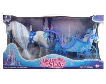 Kôň s modrým kočiarom 56x30x19cm