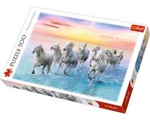 Puzzle 500 Cválajúce biele kone