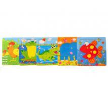 Drevené puzzle zvieratká 15x15cm