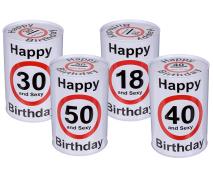 Kov. pokladnička Happy Birthday 15cm