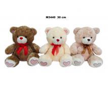 Medveď s mašlou 3 farby 30cm