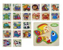 Drevené detské puzzle rôzne druhy