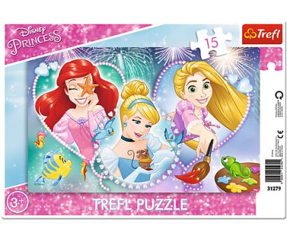 Puzzle 15 rámkové Disney princezny