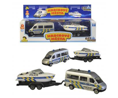 Policajné auto s prívesom a loďou 24 cm