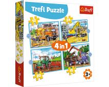 Puzzle 4v1 Veľké stavebné stroje
