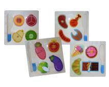 Drevené puzzle potraviny