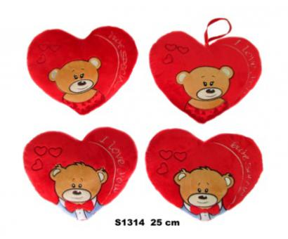 Srdce s medvedíkom 4 druhy 25cm